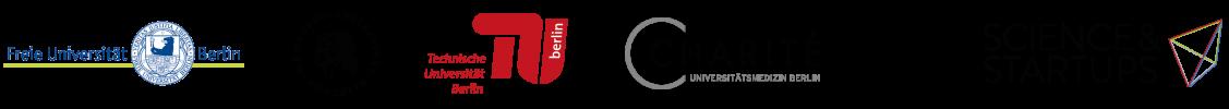 Logos of Freie Universität Berlin, Humboldt-Universität zu Berlin, Technische Universität Berlin, Charite Universitätsmedizin Berlin and Scienc and Startups